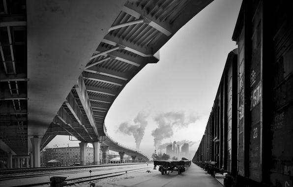 Picture winter, snow, bridge, black and white, cars, railroad