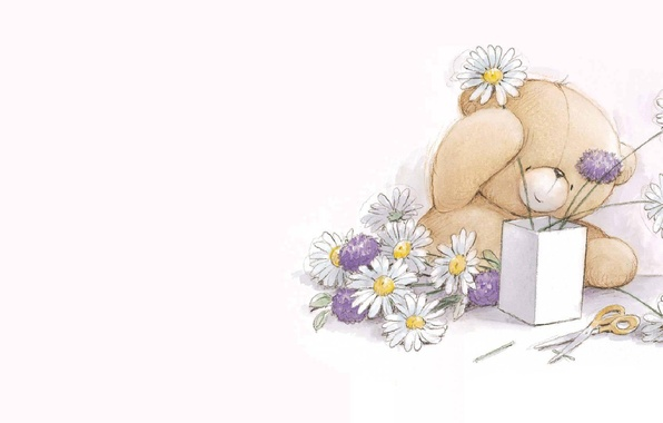 Picture figure, chamomile, bouquet, art, bear, children's, Teddy