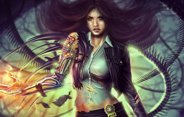 Picture look, girl, fiction, hair, icon, hand, art, cyborg, detective, Eddy Shinjuku