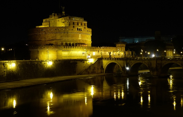 Picture night, bridge, lights, river, Rome, Italy, The Tiber, Castel Sant'angelo