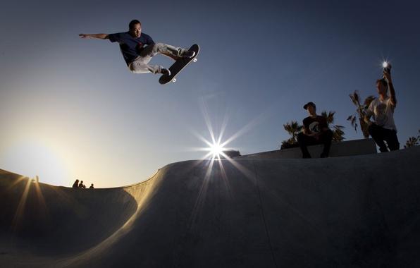 Picture jump, skate, adrenaline, skateboarding, ramp