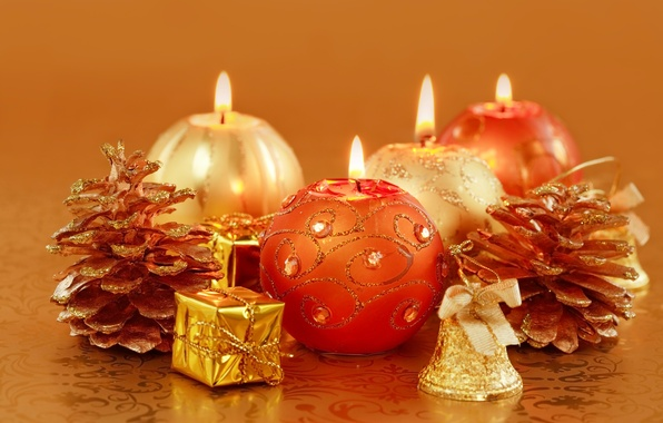 Picture holiday, candles, New Year, Christmas, the scenery, bumps, gold, candle
