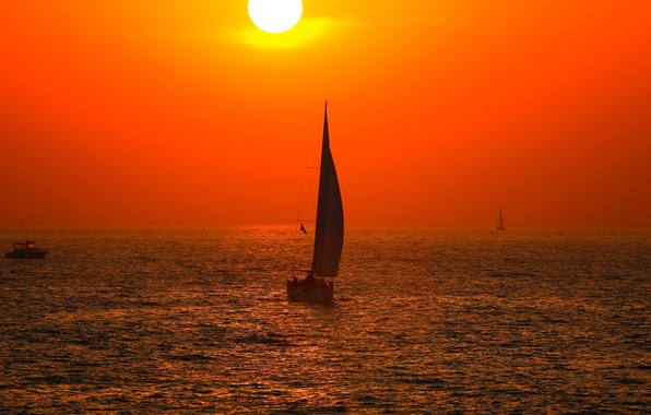 Picture sea, the sky, the sun, sunset, boat, sail, outer