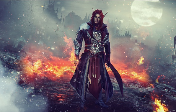 Picture fire, elf, red, MAG, male, ruins, World of Warcraft, Warcraft, wow