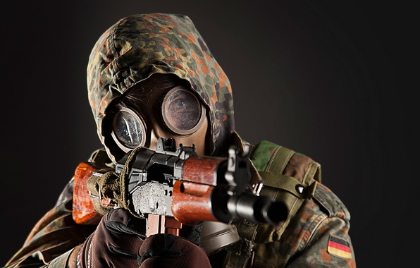 Picture weapons, background, soldiers, machine, gas mask, male