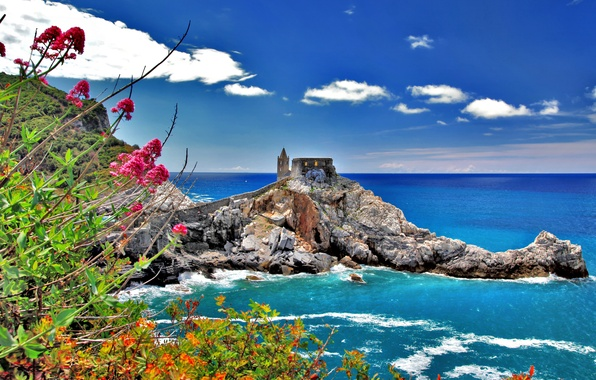 Picture sea, the sky, clouds, flowers, nature, house, rocks, tower, town, Italy, italy, cinque terre