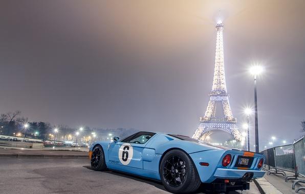 Picture blue, Paris, Ford, lights, light, Eiffel tower, Paris, Ford, blue, night, gt40, eiffel tower