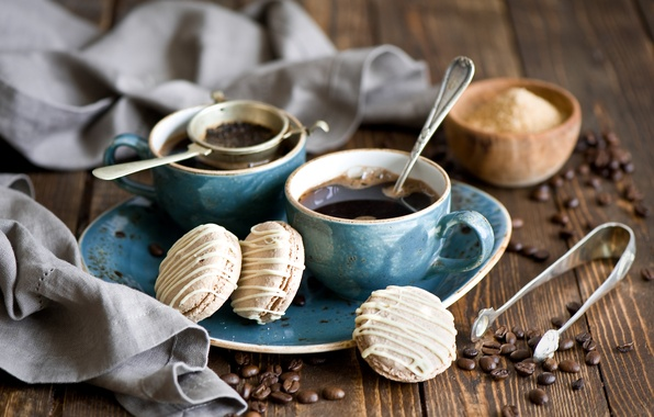 Picture coffee, grain, cookies, spoon, Cup, sugar, still life, dessert, cakes, sweet, set, glaze, Anna Verdina, …