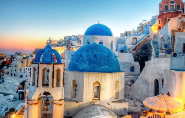 Picture the city, building, home, the evening, Santorini, Greece, lighting, Church, dome, Santorini, Oia, Greece