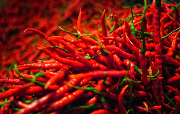 Photo wallpaper Chile, macro, a lot, pepper, pods, pepper, spicy