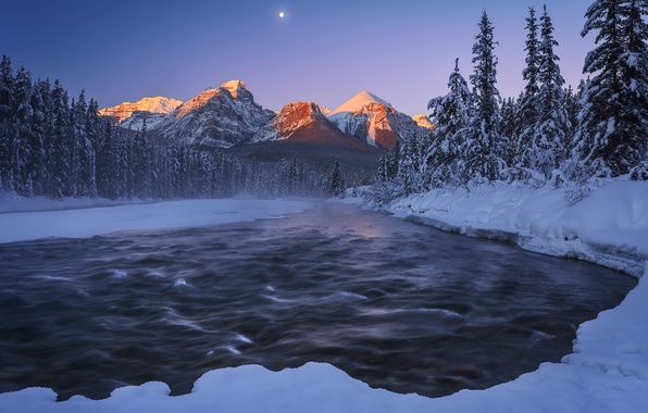 Picture winter, snow, mountains, night, nature, river, the moon
