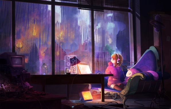 Picture computer, girl, room, rain, wire, Windows, art, chobits