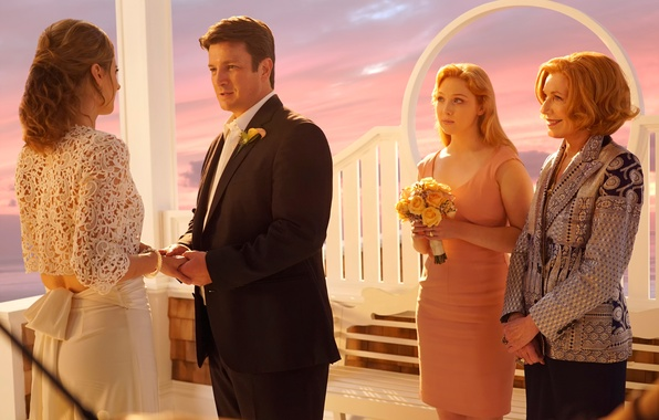 Picture Nathan Fillion, wedding, Castle, Castle, Stana Katic, Molly C. Quinn, season 7, Susan Sullivan, The …