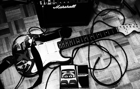 Picture style, music, photo, Wallpaper, black and white, cable, plug, tool, cord, music, Electric guitar