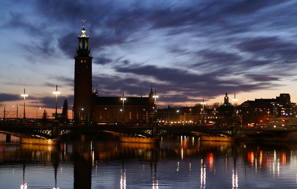 Picture the sky, clouds, light, sunset, bridge, lights, reflection, river, the evening, The city, lights, promenade