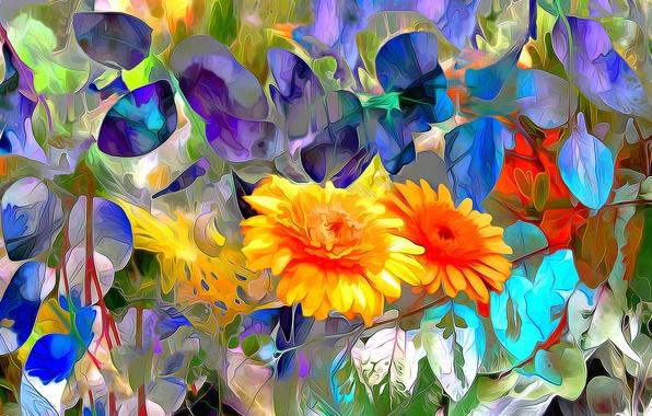 Picture leaves, line, flowers, nature, paint, petals