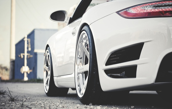 Picture 911, turbo, white, porsche, cars, auto, wallpapers, the view from the back, Photo, wallpapers auto, …