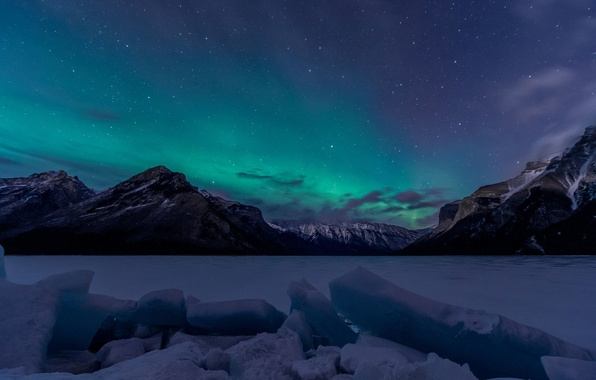 Picture Sky, Canada, Aurora, Winter, Lights, Night, Northern, Lake, Banff, Minnewanka