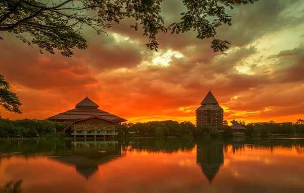 Picture the sky, trees, sunset, clouds, the city, reflection, river, island, building, the evening, Indonesia, orange, ...