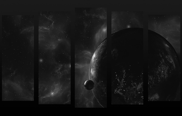 Picture space, planet, black and white