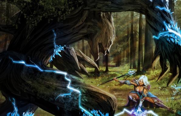 Picture forest, girl, lightning, monster, art, MAG, crystals, staff, battle, sorceress