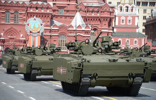 Picture parade, red square, APC, war machine, infantry, Kurganets-25