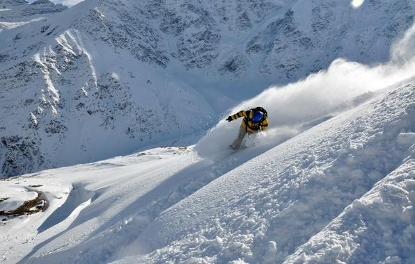 Picture winter, snow, ski, mountain, skier, extreme sports