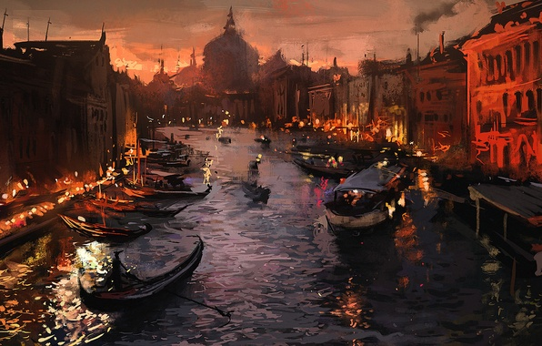 Picture the city, lights, river, boat, the evening, Venice, art, Venice