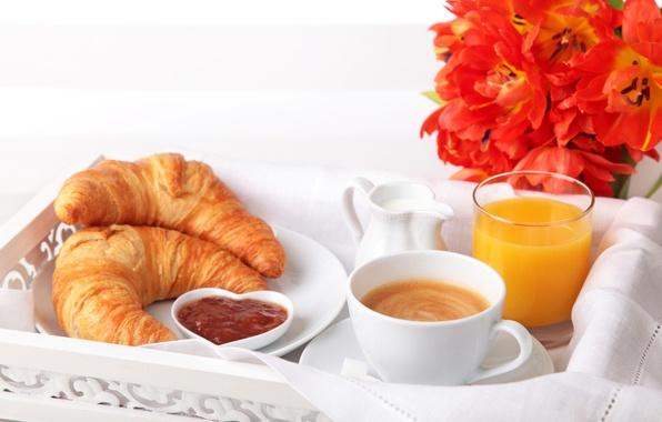 Picture flowers, glass, coffee, Breakfast, milk, juice, plate, Cup, tulips, cappuccino, jam, croissants, bagels, orange