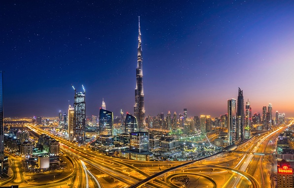 Picture the city, lights, the evening, Dubai, Dubai, UAE, Burj Khalifa