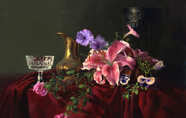 Picture flowers, table, Lily, glass, picture, crystal, fabric, vase, pitcher, still life, Alexei Antonov, forget-me-nots