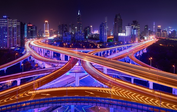Picture road, light, night, the city, lights, excerpt, China, Shanghai, bridges