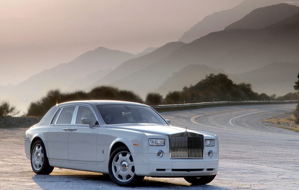 Picture road, the sun, mountains, nature, Phantom, white, Rolls Royce