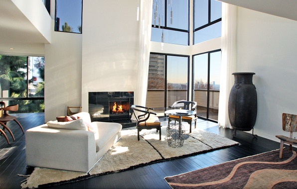 Picture design, the city, style, interior, balcony, fireplace, penthouse, city apartment, living space