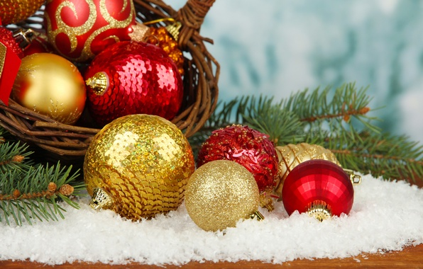 Picture snow, decoration, balls, New Year, Christmas, Christmas, balls, decoration, Merry