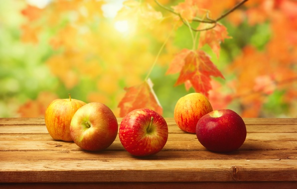 Picture autumn, leaves, table, background, apples, harvest, fruit