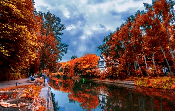 Picture autumn, leaves, trees, landscape, reflection, river, beauty, house