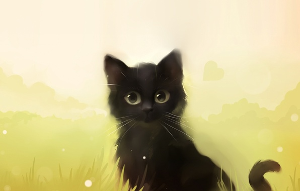 Picture cat, grass, cat, kitty, black, art, Apofiss