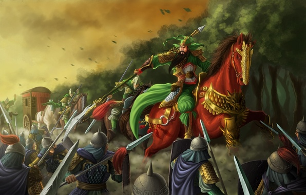 Picture forest, weapons, horse, horse, Asia, warrior, art, samurai, attack, wagon, rider, spear, battle