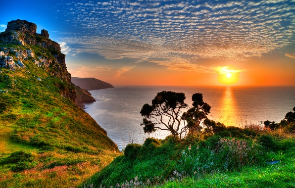 Picture sea, the sky, grass, the sun, clouds, sunset, mountains, reflection, tree, rocks, horizon, Exmoor, Exmoor