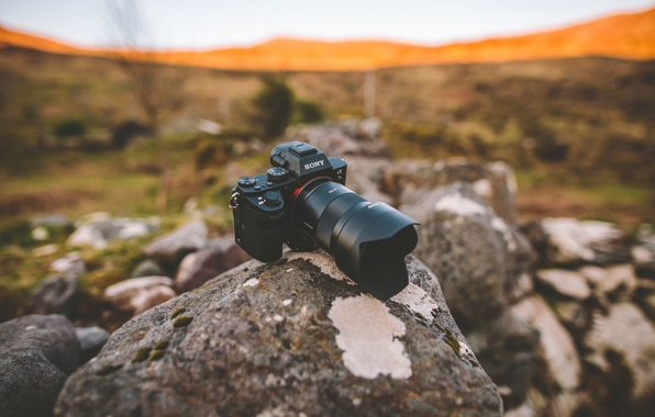 Picture field, the sun, stones, hills, camera, lens, Sony, bokeh