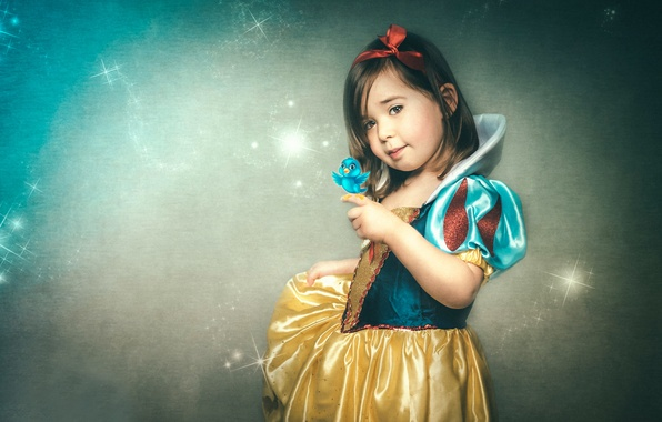 Picture tale, girl, bird, Disney Princess