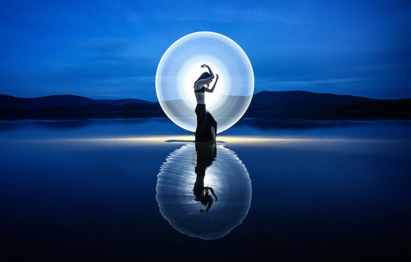 Picture girl, light, silhouette, disk, Signs of light