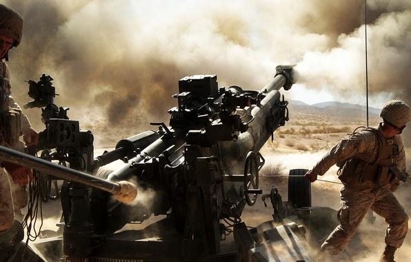 Wallpaper dust soldiers volley artillery howitzer 155 - Mm screensaver ...