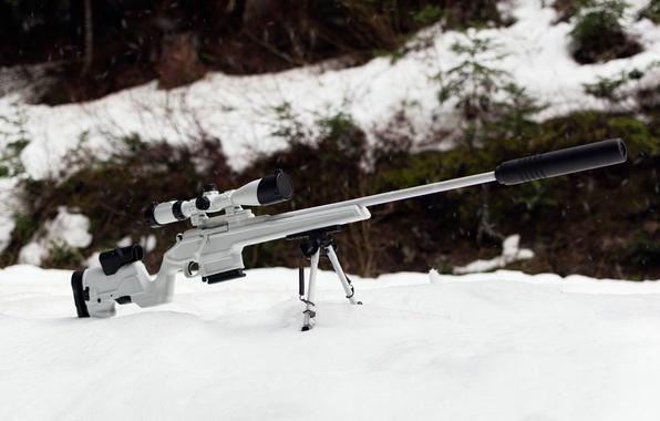 Picture winter, white, snow, weapons, optics, rifle, sniper, Mosin