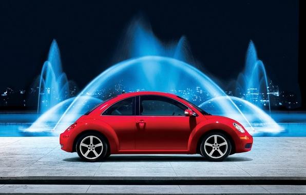 Picture beetle, volkswagen, fountain