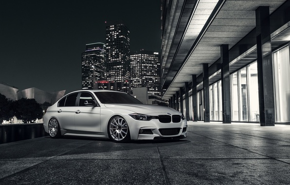 Picture BMW, City, Front, White, 328i, F30, Alpine, Wheels, Nigth, VMR