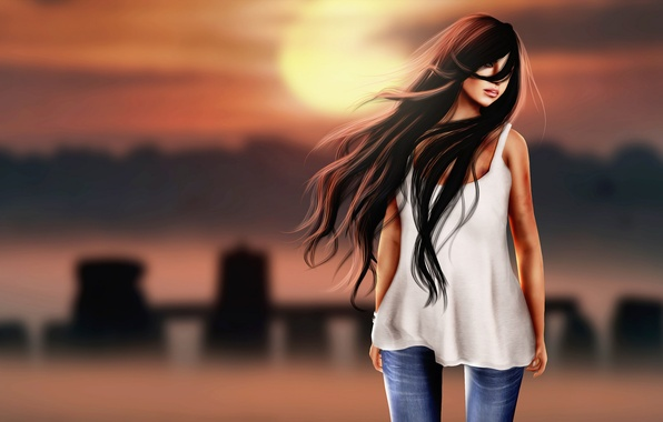 Picture girl, face, rendering, background, the wind, hair, brunette, lips