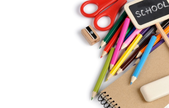 Picture pencils, white background, notebook, colorful, scissors, sharpener, accessories, school