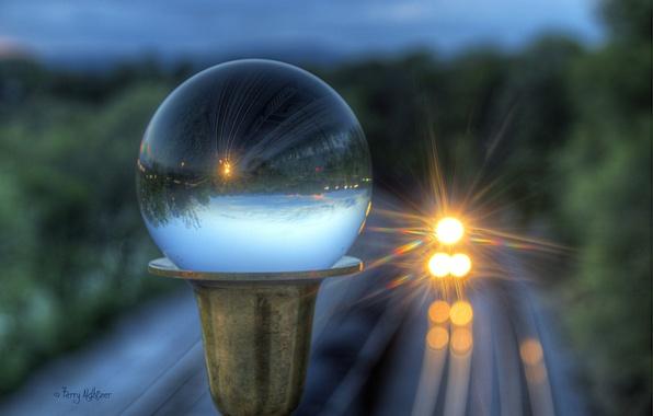 Picture glass, glare, reflection, ball, train